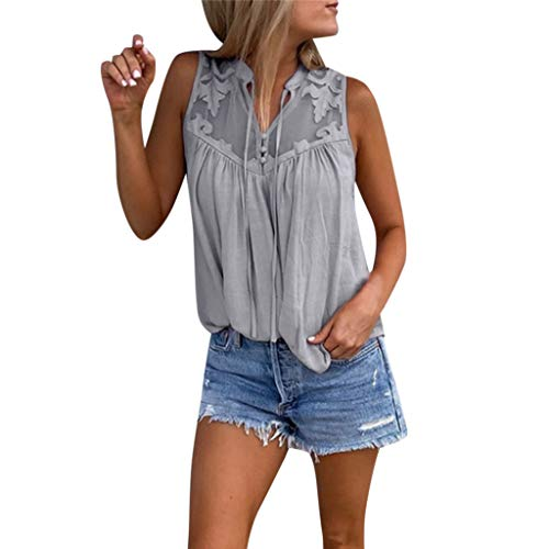 HHei_K Womens Summer Sexy See-Through Chiffon Stitching Lace V-Neck Sleeveless T-Shirt Casual Solid Color Blouse