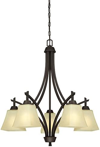 Westinghouse Lighting 6307200 Midori Five-Light Indoor Chandelier, Finish Linen, Oil Rubbed Bronze – Amber Glass