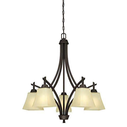 Westinghouse Lighting 6307200 Midori Five-Light Indoor Chandelier, Oil Rubbed Bronze Finish with Amber Linen Glass
