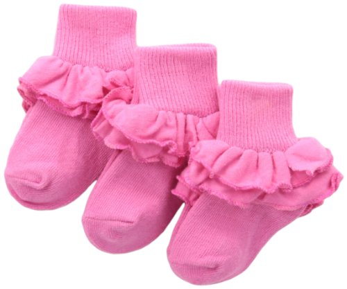 Jefferies Socks Girls 2-6X Misty Ruffle Turn Cuff 3 Pair Pack Socks