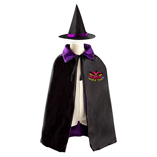 Minecraft Costume Diy (Red Pumpkin Halloween Party Cosplay Costume Satin Witch Cloak Wizard Cape With Magic Hat Set for Girls Boys)