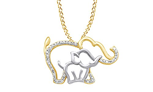 AFFY White Natural Diamond Mother & Baby Elephant Pendant Necklace in 10K Yellow Gold ()