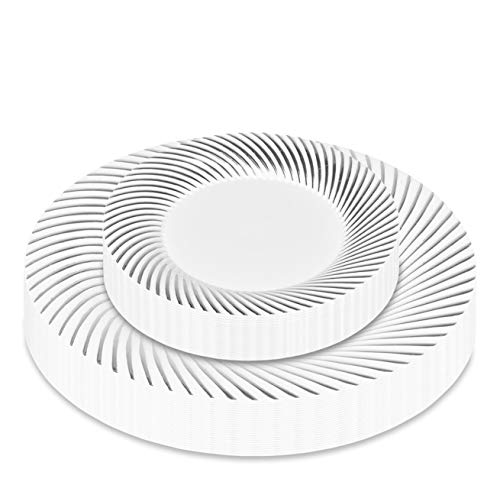 50 Piece Elegant Plastic Plates with Silver Round Twirl Rim - Heavy Duty Plastic Dinnerware - Fancy Plates for Weddings and Parties - Set Includes 25 Dinner Plates and 25 Salad Plates (Silver Swirl)