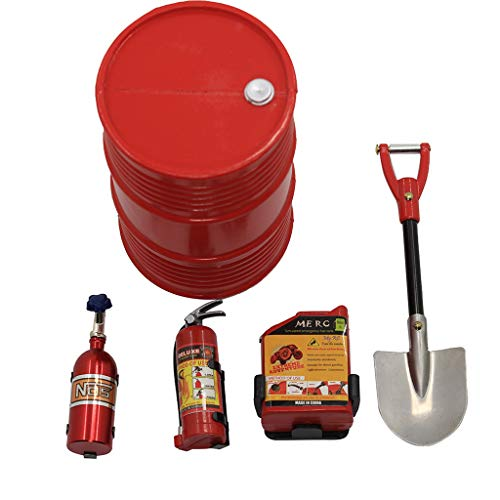 Children Model Kits,Mosunx Toys 5pcs Remote Control Car Simulation Accessories (Oil Barrel + Fuel Tank + nitrogen Bottle + Fire Extinguisher + Shovel) (Red)