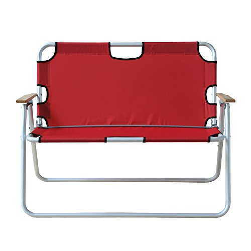Outsunny 2-Person Folding Aluminum Love Seat Camping Chair - Red