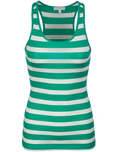 BOHENY Womens Cotton Stripe Ribbed Racerback Tank Top-L-Green