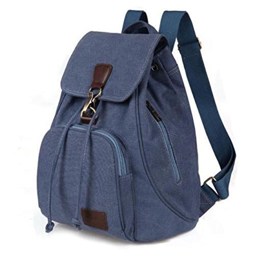 Rucksack blue Navy Bag Vintage Travel Student Backpack Satchel New Retro Women Shoulder Canvas w1qz7A