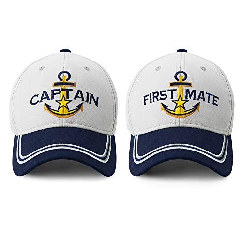 Captain Hat & First Mate | Matching Skipper Boating Baseball Caps | Nautical Marine Sailor Navy Hats]()