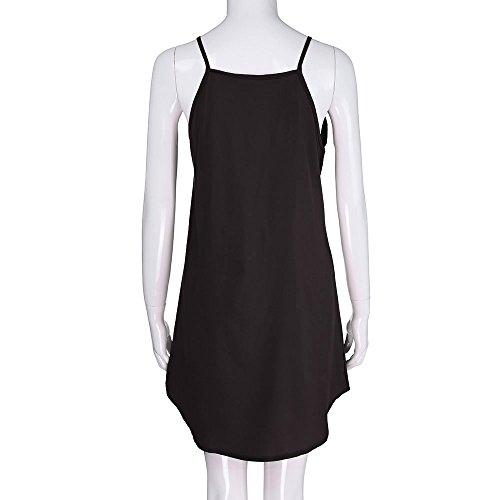 Cuello Vestido de Verano Largo 2018 Sexy Niña Dress day Negro Mujeres Impresión para Happy la Mini Mangas Señoras sin Beach Sólida Falda Ocio V Fiesta Corta Vestido Bohemia q57wHanP