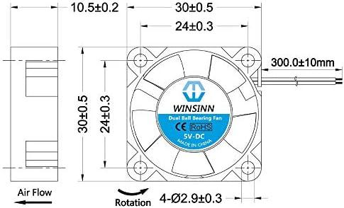 WINSINN 3010 Ventilador sin escobillas de 5 V, 12 V, 24 V CC, 30 x ...