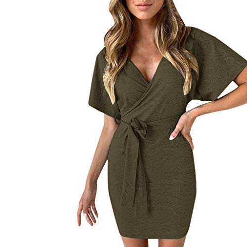 (NRUTUP Women V Neck Wrap Mini Ladies Bodycon Evening Cocktail Party Bandage Dress (Army)