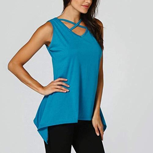 Shirt Tshirt Pullover Cou Blau lgant Manches Nues Irrgulier V Manche Mode Uni Crossover Outdoor Femme Chic sans Mode paules Tee Top Et Costume Jeune d7TgXdq