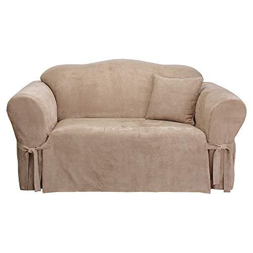 SureFit Soft Suede 1-Piece - Sofa Slipcover - Taupe