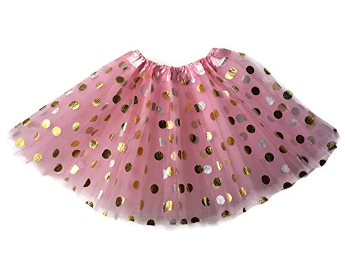 Rush Dance Ballerina Girls Dress-Up Princess Fairy Polka Dots & Ribbon Tutu (Kids (3-6 Years Old), Pink & Gold -
