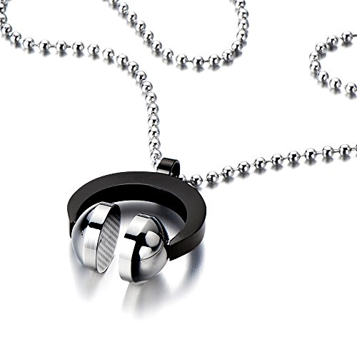 Stainless Headphone Necklace Silver Inches