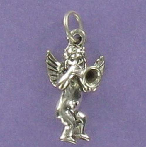 Pendant Jewelry Making Cherub Angel with Horn Charm Sterling Silver 925 for Bracelet Religion Gabriel