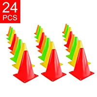 Super Z Outlet 7.5″ Bright Neon Colored Orange, Yellow, Red, Green Cones Sports Equipment for Fitness Training, Traffic Safety Practice (24 Pack)