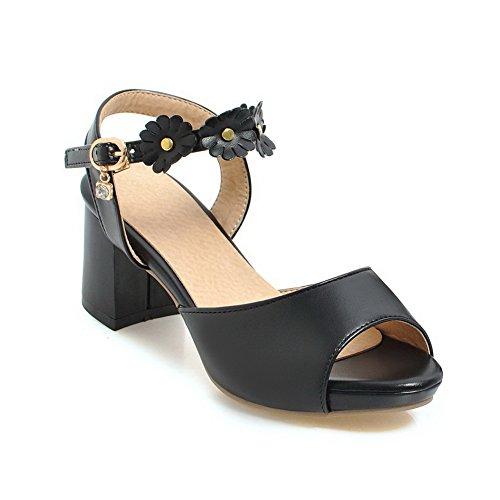 AdeeSu Womens Solid Charms Dress Urethane Sandals SLC04037 Black IQ1v1cuWHa