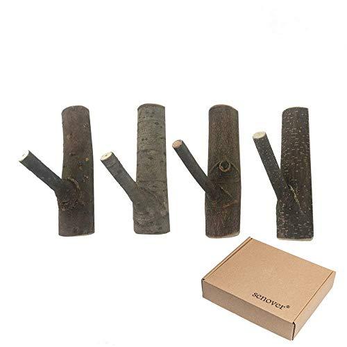 Vintage Decorative Wood Adhesive Hooks,Tree Branch Wall Hook Key Holer,Wooden Coat Hook Hat Hanger,4PCS (4cm)