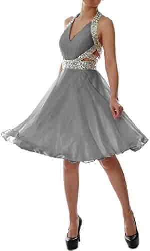 82c6248a54f MACloth Elegant Short Prom Homecoming Dress Halter V Neck Party Formal Gown