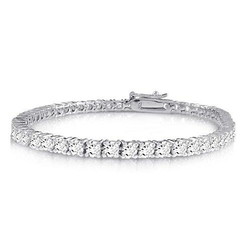 KEZEF Creations Sterling Silver Round Cut 2mm Cubic Zirconia Tennis Bracelet