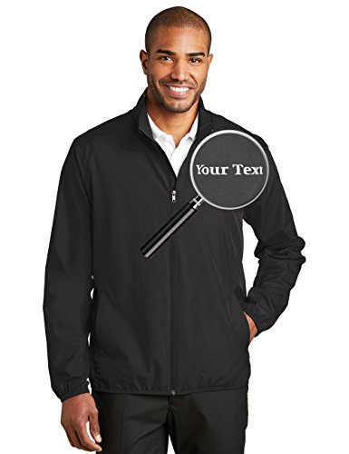 Custom Embroidered Jackets for Men - Windbreaker Zip Up Embroidery Coach Jacket Black]()