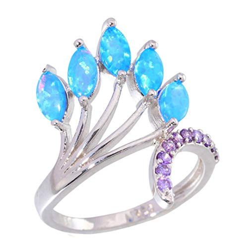 MARRLY.H Created Blue Fire Opal Purple Zircon Silver Plated Sell Jewelry for Women Gift Ring Blue 6