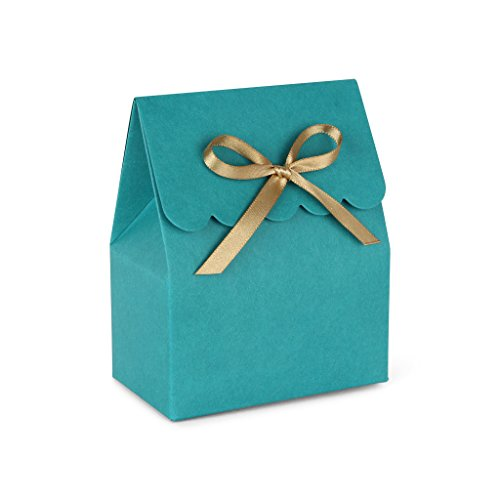 Teal Favor Boxes with Gold Satin Ribbon // set of (Sweet 16 Candy Buffet)