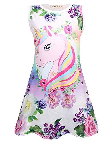 Girls Summer Dresses Sleeveless Casual Unicorn Dress A Line Swing Twirl Dress for Kids Size 4-5 Years