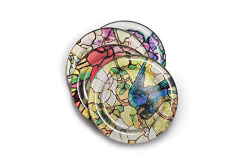 The Metropolitan Museum of Art Set of 4 Stained Glass Coasters - 4'' diam, Heat-Resistant Reusable Saucers for Cold Drinks Wine Glasses Plants Cups & Mugs by M&G COLLECTION