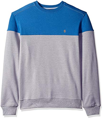 IZOD Men's Advantage Performance Colorblock Crewneck Fleece Sweatshirt, Block Bright Cobalt, Medium