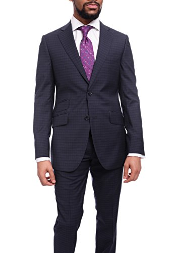 Napoli Slim Fit Blue & Black Check Two Button Half Canvassed Wool Suit ()