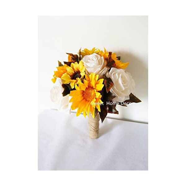 """Sweet Home Deco Silk Sunflower Rose Maple Leaves Wedding Flower Package Cascading Bridal Bridesmaid Bouquet Boutonnier Fall Colors (Mix Colors-8""""W Round Bouquet)"""