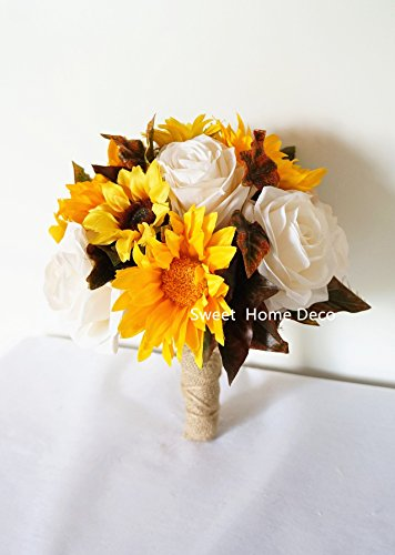 Sweet Home Deco Silk Sunflower Rose Maple Leaves Wedding Flower Package Cascading Bridal Bridesmaid Bouquet Boutonnier Fall Colors (Mix Colors-8''W Round Bouquet)