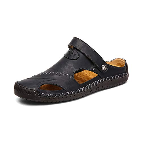Genuine Leather Men Sandals Shoes Summer Beach Men Slippers Bohemia Big Size 38-48,Black,9