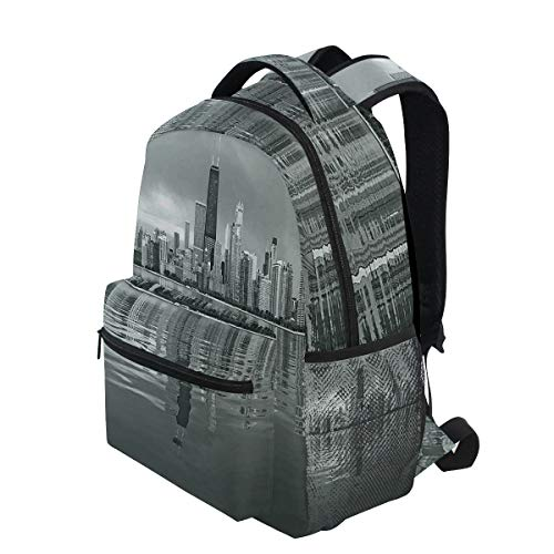 Harbor Town Golf - KVMV Chicago Skyline Nostalgic Weathered Lake Michigan Harbor Coastal Town Urban Vintage Lightweight School Backpack Students College Bag Travel Hiking Camping Bags