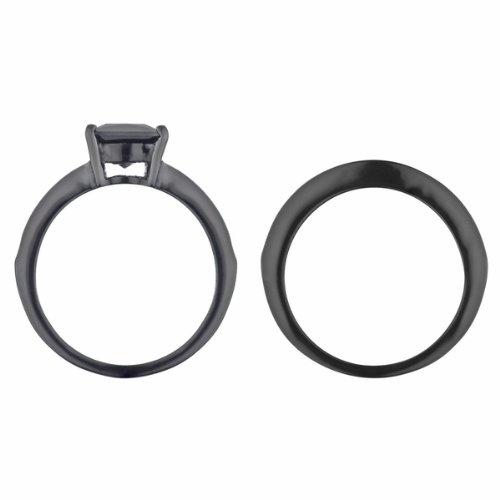 amazoncom ellyns black cz wedding ring set wedding bands jewelry - Black Wedding Ring Sets