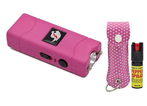 Mini Stun Gun Pepper Spray Combo for Self Defense - Extremely Powerful Stun Gun with Bright Led Flashlight 2oz Police Grade Maximum Strength Pepper Spray w/Pouch for Men and Women (Pink Bling)