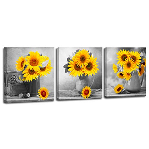 (Canvas Artwork Modern Vase Sunflower Decor for Bedroom Bathroom Kithen Wall Decor Black and White Yellow Canvas Art Wall Decoration for Office 3 Piece Canvas Wall Art Set Sunflower Art Picture Framed)