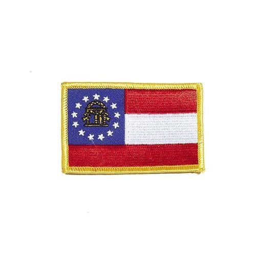 - Georgia USA State Square Flag Embroidered Iron-ON Patch Crest Badge