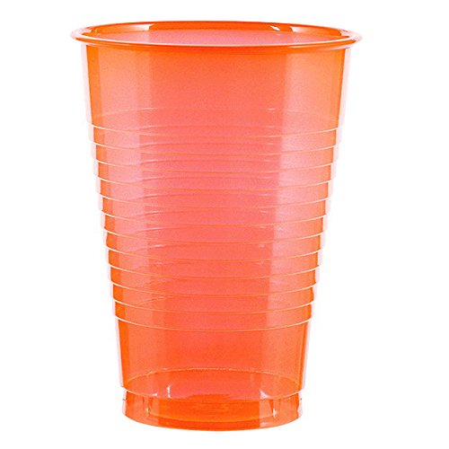 Amscan Big Party Pack Reusable Neon Plastic Cups Tableware 16 Ounces, Pack of 50 Others Supplies , Orange, 1000 Pieces