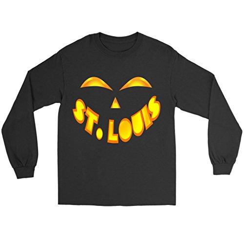 St. Louis Jack O' Lantern Pumpkin Face Halloween Costume Long Sleeve Tee Shirt, XL