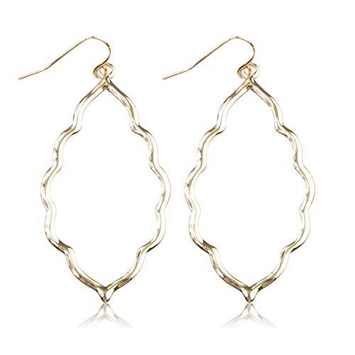 RIAH FASHION Lightweight Geometric Cut-Out Drop Earrings - Simple Metallic Open Hoop Wire Hook Dangles Pear, Teardrop, Oval Octagon (Moroccan - Gold)