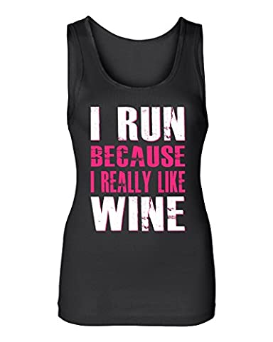 South Beach Women's I Run Because I Really Like Wine Tank Top X-Large Black - South Beach Wine