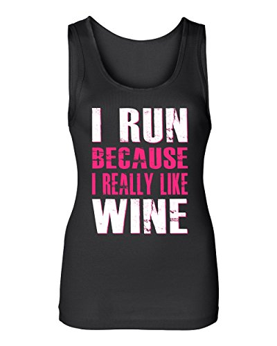 South Beach Women's I Run Because I Really Like Wine Tank Top Small Black (Beach South Wine)