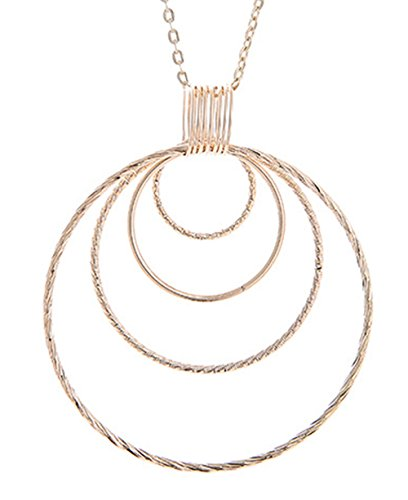 Greendou Fashion Jewelry 18k Gold Plated Multilayer Circles Pendant Necklace with 18 Inches Rolo Chain