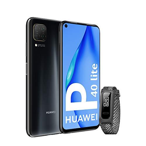 HUAWEI P40 Lite – Smartphone 6.4″ (Kirin 810, 6GB RAM,128GB ROM, Cuádruple cámara, Carga Rápida de 40W, Batería de 4200mAh) Negro + Band 4e, Gris [Versión ES/PT]