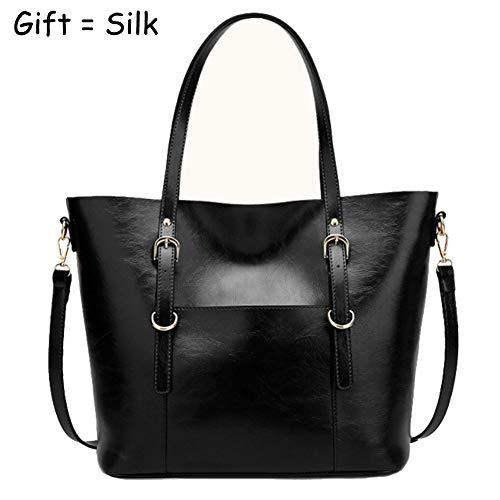 Top QUEENTOO and Bag Purses Capacity Handle Satchel B Designer PU Handbags black Large Womens Leather Tote Shoulder Handbags Ladies E7a8nwxdtw