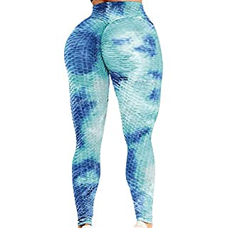 HURMES Women's High Waist Workout Leggings Ruched Butt Lifting Booty Scrunch Tummy Control Anti-Cellulite Yoga Pants Textured Tights Tie-dye Blue