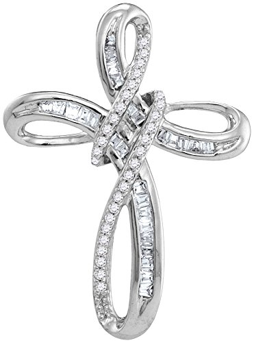 Solid 10k White Gold Round Baguette White Diamond Channel Set Cross Pendant (1/4 cttw)